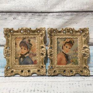 Vintage Ornate Framed Paintings of Women